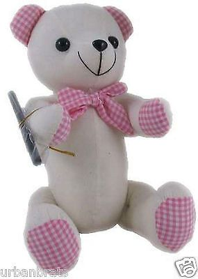 Signature /Message / Autograph Bear with Pen ~ Large Pink Gingham 37 cm