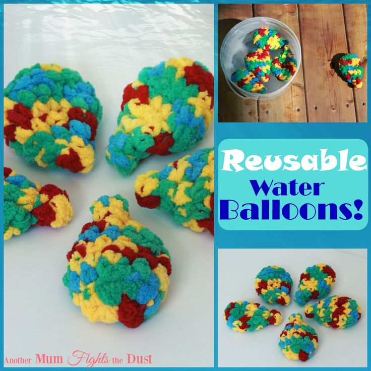 Are you tired of picking up bits of balloons after a water fight? Get these reusable water balloons, or make your own with this Free crochet pattern!