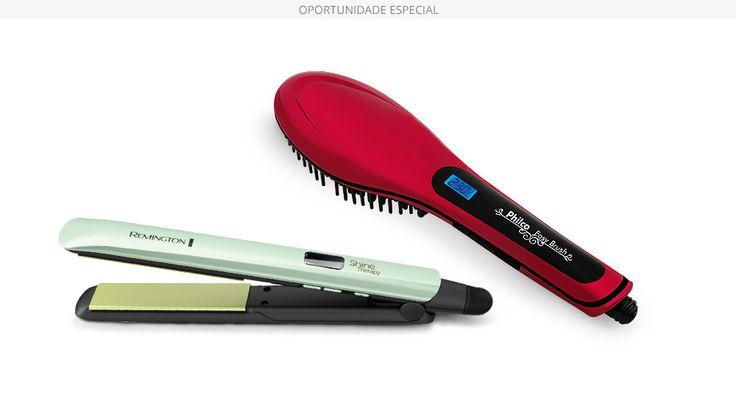 Prancha Shine Therapy 2x Remington + Escova Elétrica Alisadora Easy Brush Philco - Polishop