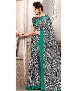 Wonderful Black And White Silk Saree.
