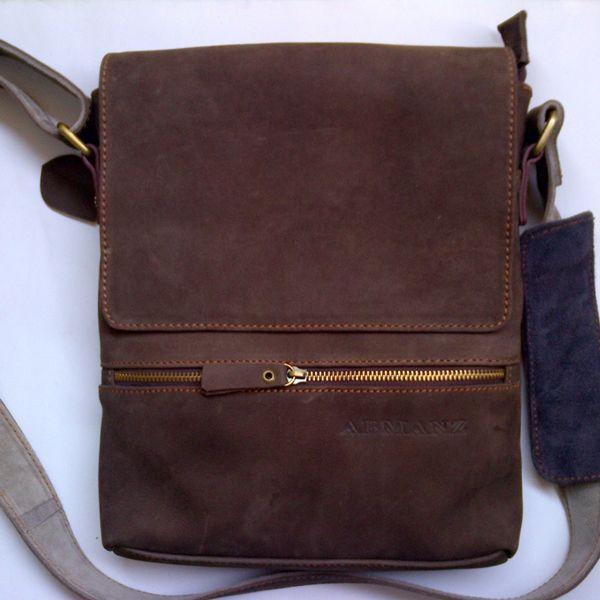 Tas selempang kulit asli casual resleting depan nobook