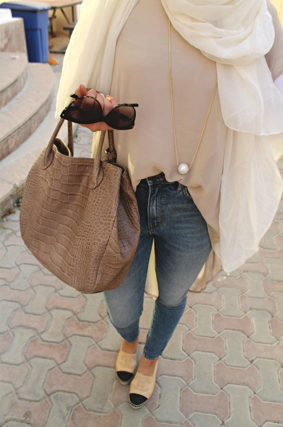 Tuck it in the jeans - look for a pearl - check out: Esma <3