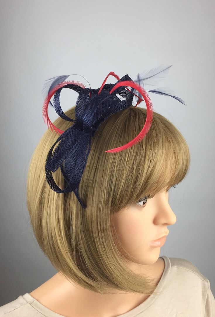 Excited to share the latest addition to my #etsy shop: Dark Blue Navy Blue and Red Fascinator Sinamay Fascinator wedding mother bride Ladies Day & Ascot races, occasion event #weddings #accessories #blue #red #redandnavy #redandblue #navyandred #darkblueandred #hatsandfascinators