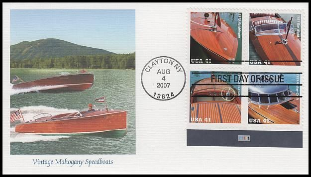 Scott Catalog # : 4163a Plate Block of 4 / Fleetwood First Day Cover. Block includes:4160 - 1915 Hutchinson / 4161 - 1954 Chris-Craft / 4162 - 1939 Hacker-Craft and 4163 - 1931 Gar Wood. Have description of the stamp subject printed on the back. IS IN MINT, UNADDRESSED CONDITION.
