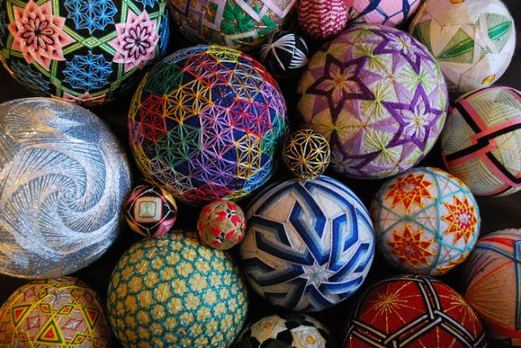 """The beautiful art of """"Temari"""", from the hand of a 92 year old grandmother. Absolutely breathtaking."""