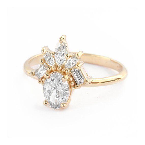 Einzigartiger ovaler Diamant-Verlobungsring, Art Deco-Verlobungsring, Marquise- und Baguette-…