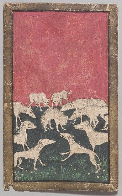 "4 of Hounds, from The Stuttgart Playing Cards, ca. 1430. The Metropolitan Museum of Art, New York. Landesmuseum Württemberg, Stuttgart (KK grau 34) | This work is featured in the ""The World in Play: Luxury Cards, 1430-1540"" exhibition. #MetLuxuryCards"