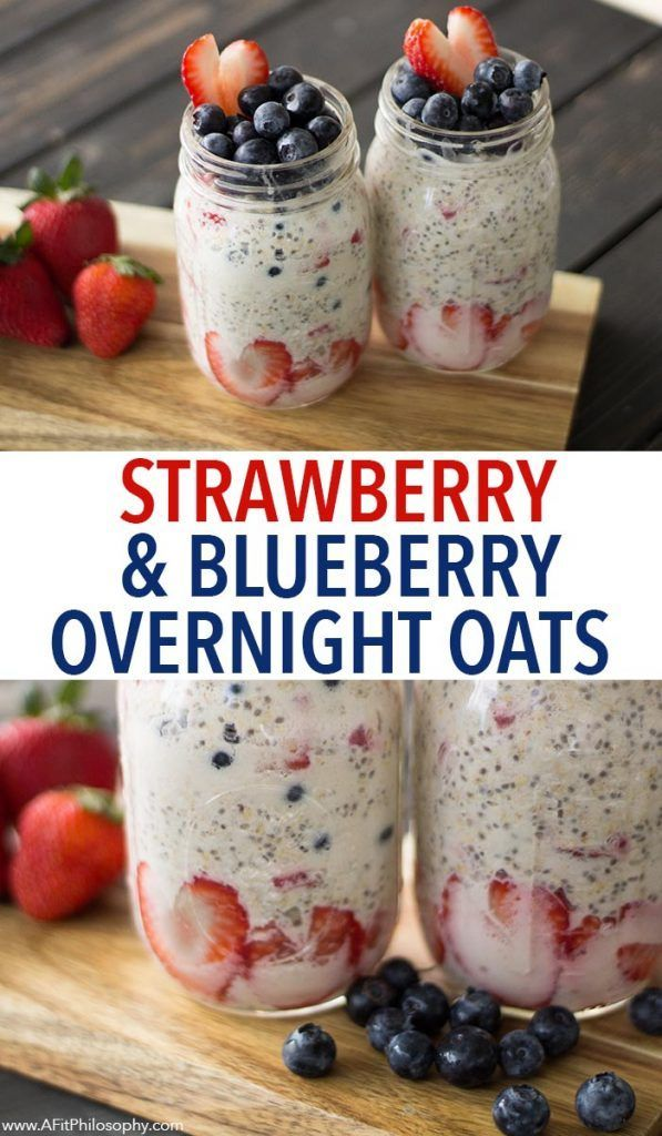 Strawberry Blueberry Overnight Oats - Red, white, and blue breakfast, dairy free, egg free, gluten free
