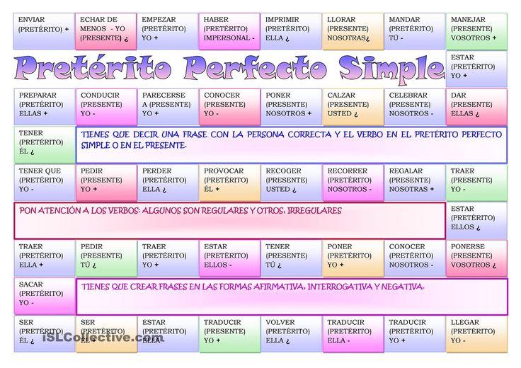 Pretérito Perfecto Simple / Presente- tabulero