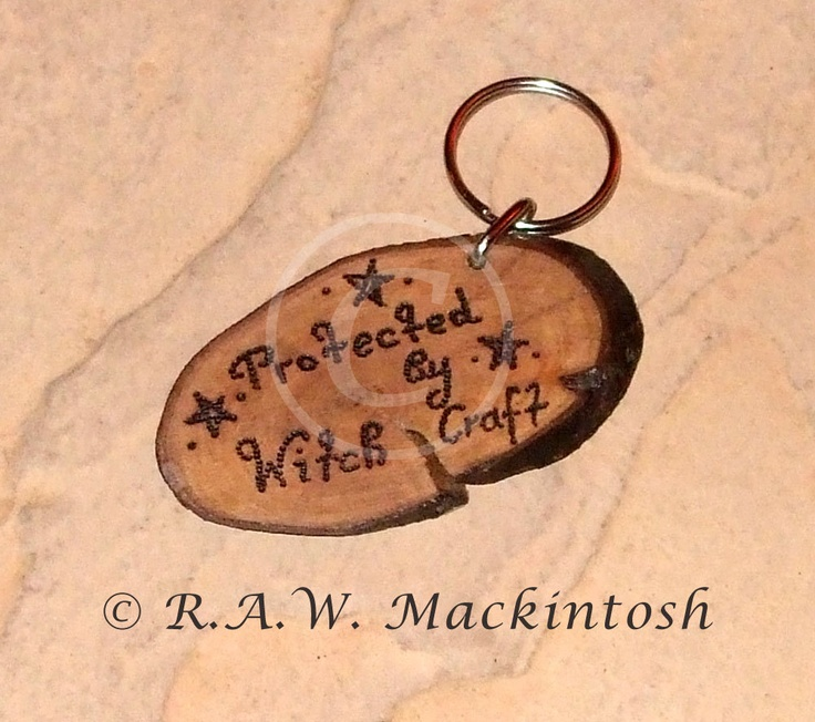Hand crafted Wooden Keyring - Handbag Charm - Protected by Witchcraft - OOAK - Made in Scotland. £8.00, via Etsy.