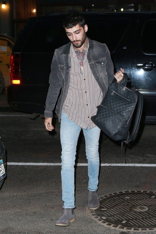 6982f2998f0f7 Zayn Malik wearing Louis Vuitton Backpack Onyx Damier Infini Embossed  Black, Common Projects Suede Chelsea Boots