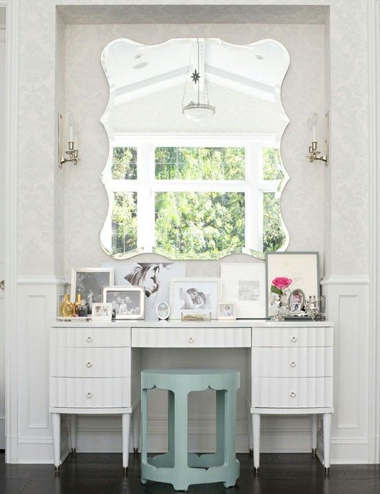 Vanity idea, love that mirror!