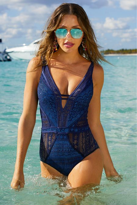 404f2b23e09f The Plunge Crochet One-piece Swimsuit (also in black!) available at  #BostonProper! ~ Today's Fashion Item #ResortWear #ResortFashion  #SexySwimsuits