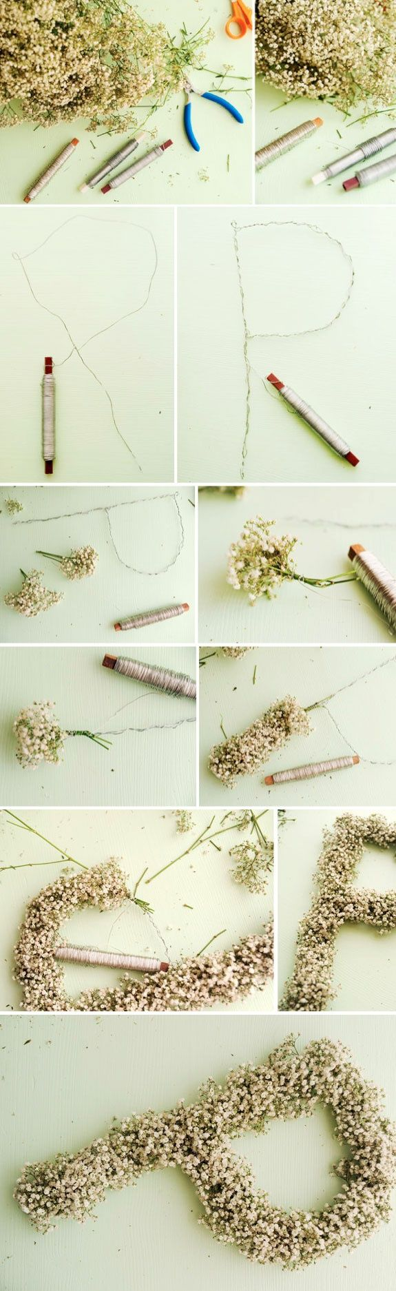 babiesbreath letters. Medium-thin floral wire, thinner floral wire, wire cutters, and bunches of babies breath. Can use leaves or other flowers in place.
