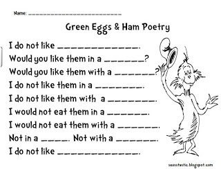 Seusstastic Classroom Inspirations: Green Eggs and Ham Poetry