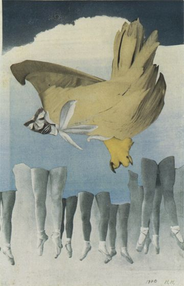 Hannah Höch, Never Keep Both Feet on the Ground, 1940, Photomontage, 12 11/16 x 8 3/16 inches