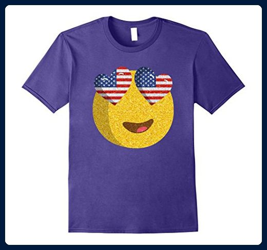 Mens Emoji Heart Eyes With American Flag On 4th July T-shirt 2XL Purple - Holiday and seasonal shirts (*Amazon Partner-Link)