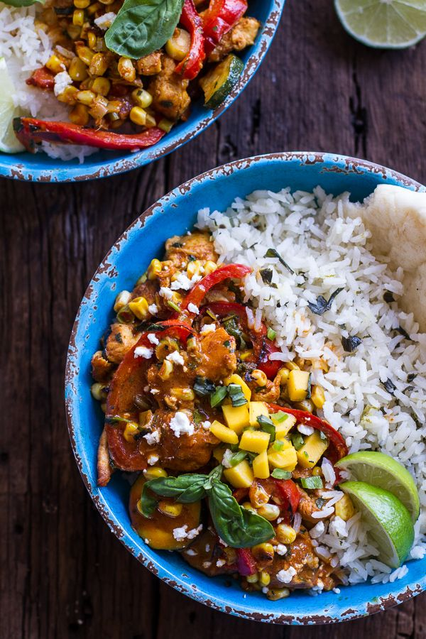 Simple Summertime Basil Chicken Curry with Coconut Ginger-Lime Rice | halfbakedharvest.com (substitute chickpeas for a vegetarian version)