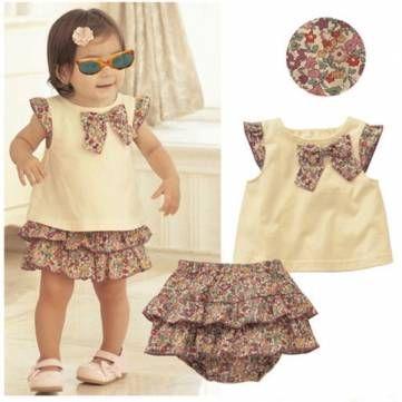 6-24m fille bébé bambin robe d'été tenue floraux sommets bowknot Ruffle fixés at Banggood - Banggood Mobile
