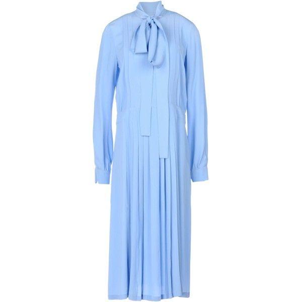 N° 21 3/4 Length Dress ($792) ❤ liked on Polyvore featuring dresses, sky blue, long sleeve day dresses, long sleeve trapeze dress, long sleeve dress, zipper dress and sky blue dress