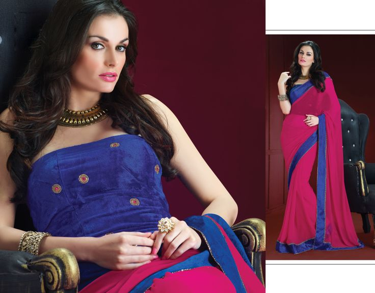 PINK CHIFFON SAREE WIT BLUE VELVET BLOUSE.CHECK OUT: https://www.facebook.com/pages/Janns-Creations/726865744004090
