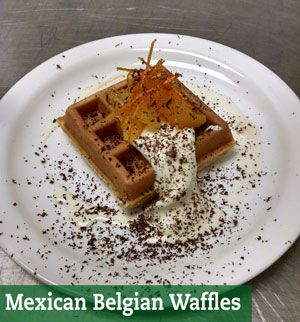 Where spicy meets sweet - a delicious Belgian waffle with ice cream and chipotle! Serves 4, approx. 870 calories per serving.