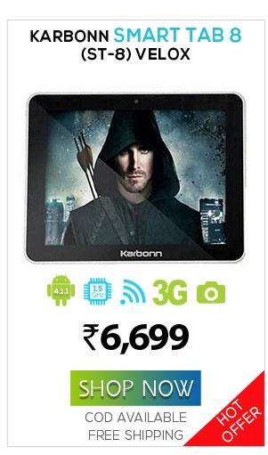 Karbonn Smart Tab 8 (ST-8) Velox  Naaptol Price@6,699  http://www.naaptol.com/tablet/karbonn-smart-tab-8-%28st-8%29-velox/P/12178550.html