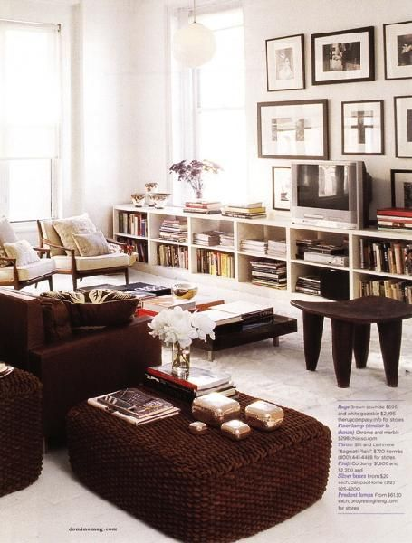 Domino September Love The Low Bookshelves Running Across One Wall And Using Them As A Focal Point TV Stand