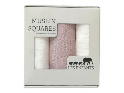 Les Enfants, Muslin Squares 3 pk, hvit/rosa, 199,-