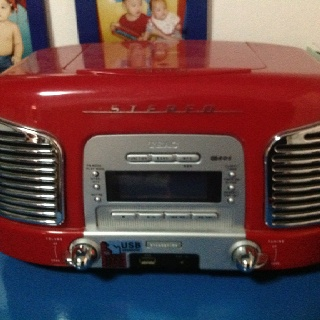 Vintage car cd player- where i play my son's favorite nursery songs