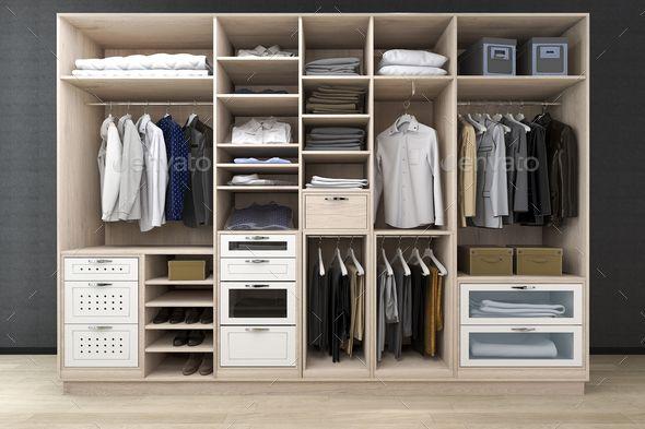 3d Rendering Minimal Scandinavian Walk In Closet With Wood Wardrobe In 2020 Wood Wardrobe Walk In Closet House Design Drawing