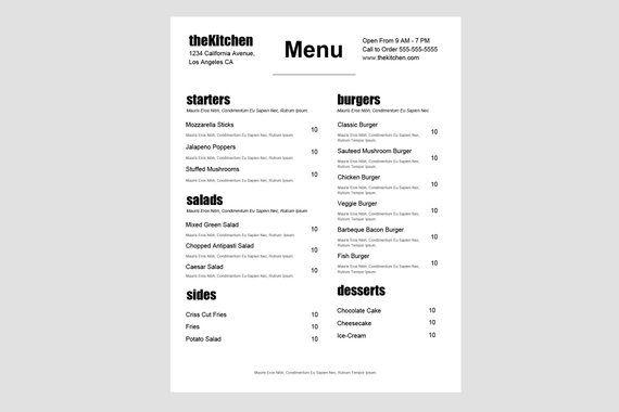 Food Truck Menu Restaurant Menu Template Restaurant Menu Minimal Menu Cafe Menu Simple Menu Word Menu Google Docs Instant Download In 2021 Menu Template Restaurant Menu Template Menu Restaurant