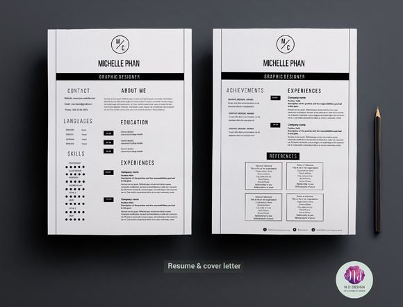 Modern 2 page resume template by Graphicsauthor