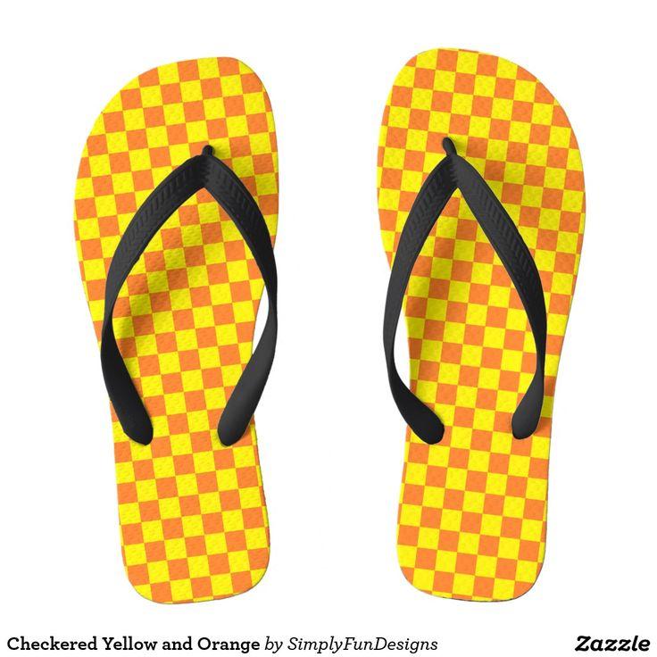 Checkered Yellow and Orange Flip Flops