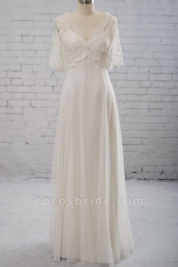 Empire Waist V Neck Tulle A Line Wedding Dress In 2020 Wedding Dresses Whimsical Fairy Wedding Dress A Line Wedding Dress
