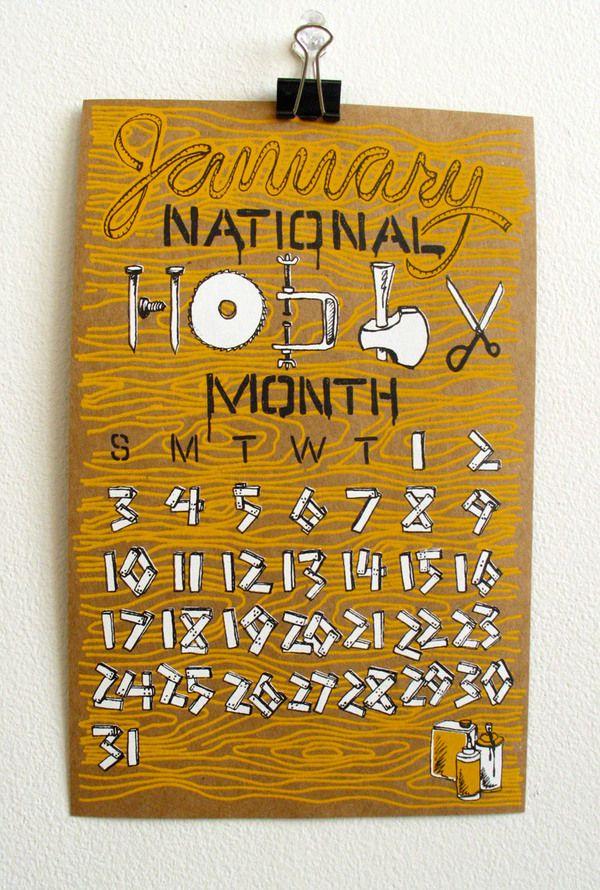 2010 Calendar of Silly Holidays by Annica Lydenberg, via Behance