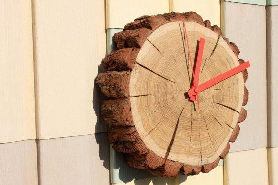 Old tree stump Oak Natural Wall Clock / Home Décor / Natural edge wild/ Wooden Slices Wall Clock / Unique clock  wall decor / Wedding gift