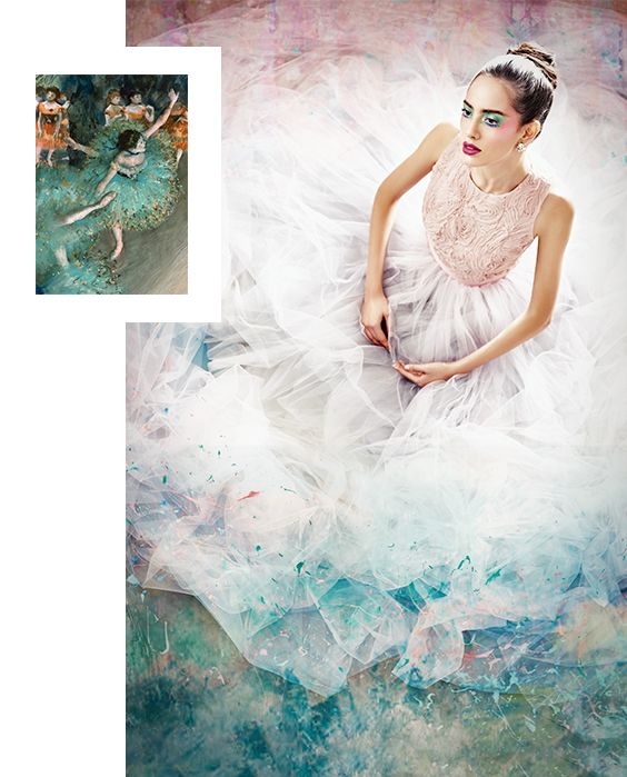 Bailarina verde de Degas. Top de: Adolfo Dominguez. Aretes de: Sophie Crown.