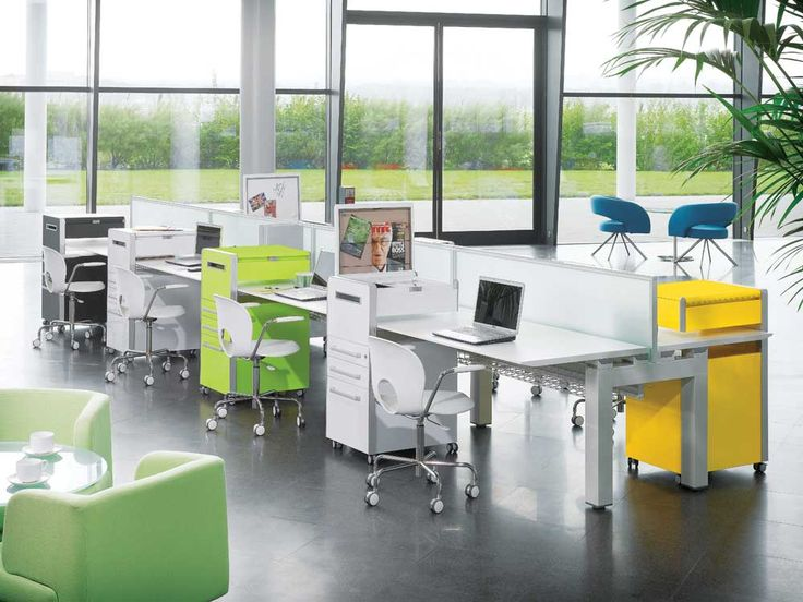 Simple Interior Design of Office with white table and fulcolor cabinet