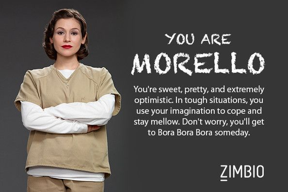 I took Zimbio's 'Orange Is the New Black' quiz and I'm Morello! Who are you? #ZimbioQuiz  http://www.zimbio.com/quiz/e0d9pdKUotW/Orange+New+Black+Character?result=yBJas97MoJI