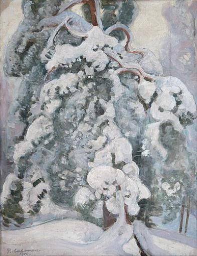 Pekka Halonen, Snowy Pine Tree, 1916, The Life and Art of Pekka Halonen - from http://www.alternativefinland.com/art-pekka-halonen/