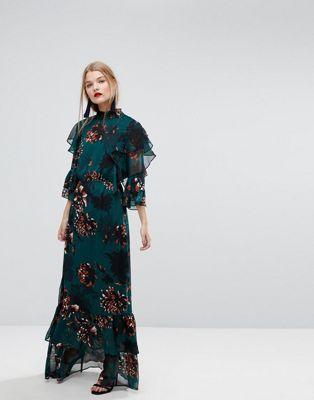 f09927fce8f Y.A.S Bold Floral Print Ruffle Maxi Dress