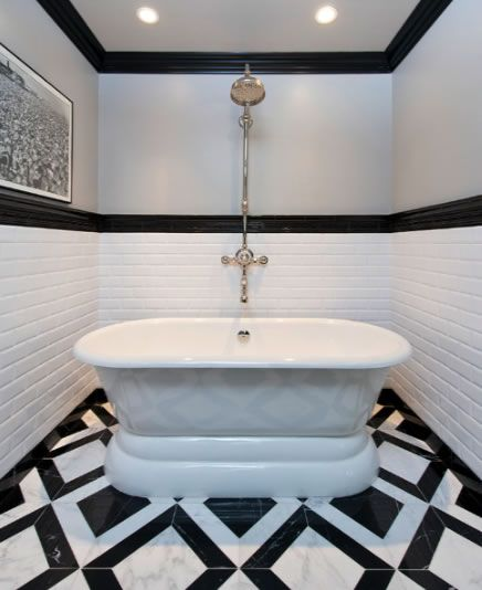 Monochromatic Chic Bath Jeff Lewis Design Bold Black And White Striped Floor In The