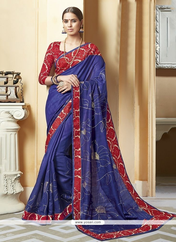 Floral Blue Patch Border Work Silk Printed Saree Model: YOSAR6709