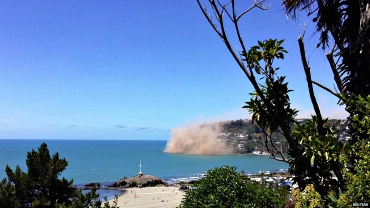 Rocks falling off Godley Head, Dec. 23, 2011 earthquake.