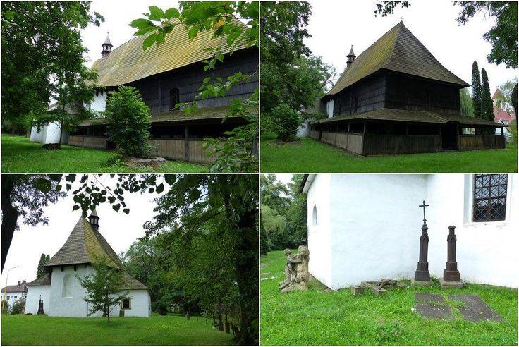 Valašské Meziříčí, kostel sv. Trojice, asi z konce 16. st. (got. polyg. závěr), pol. 18. st. - sakristie a dřev. dostavba na Z.