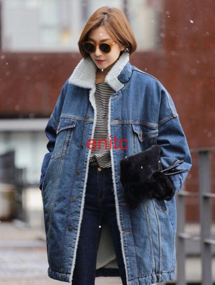 Fallwinter Denim Fleece Lining Loose Thicken Womens Parka Coat Trench Jacket S-L