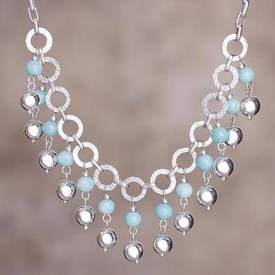 Amazonite waterfall necklace, 'Queen Beads' - Amazonite and Sterling Silver Waterfall Necklace from Peru