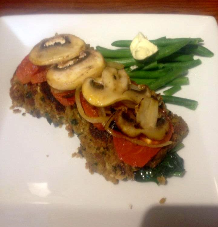 Vegetable Patties with Grilled tomato, topped with a vegie stack