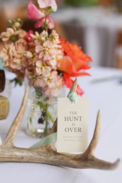 The Hunt is Over! Rustic deer antler decoration ideas. #mwri #wedding #decorations